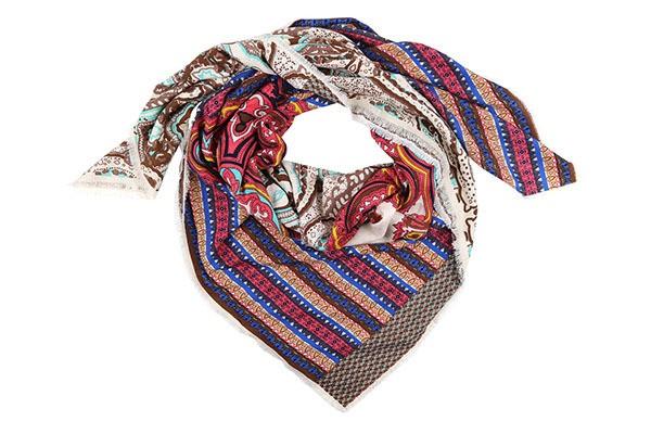 Бежево-розовый женский платок Fabretti (вискоза/шерсть)