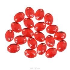 Стразы пришивные Астра, овальные, цвет: красный, 20 шт