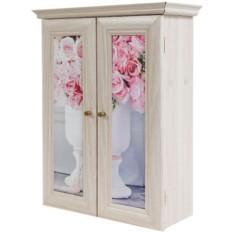 Декоративный настенный шкафчик Ваза с букетом роз беж