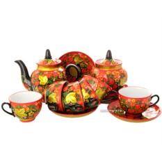 Чайный сервиз с росписью Клубника двойной фон