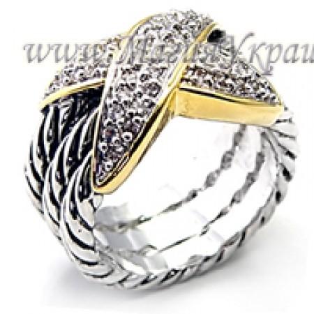 Кольцо с Фианитами позолоченное