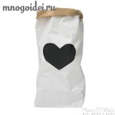 Эко-мешок для игрушек из крафт бумаги Большое сердце