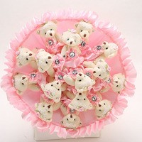 Букет из игрушек Мишки в розовых платьицах
