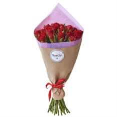 Букет из 25 красных роз 40 см в крафте