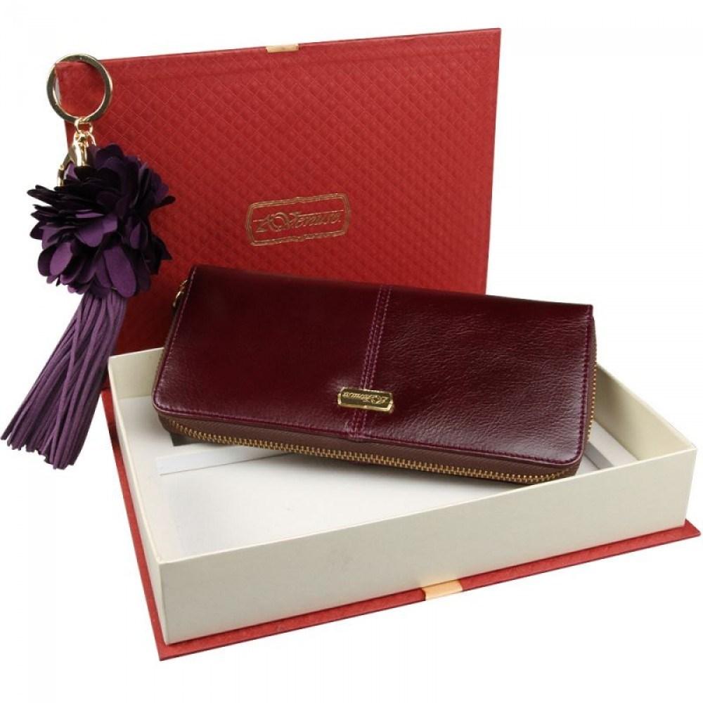 Женский подарочный набор из коричневого кошелька и брелока