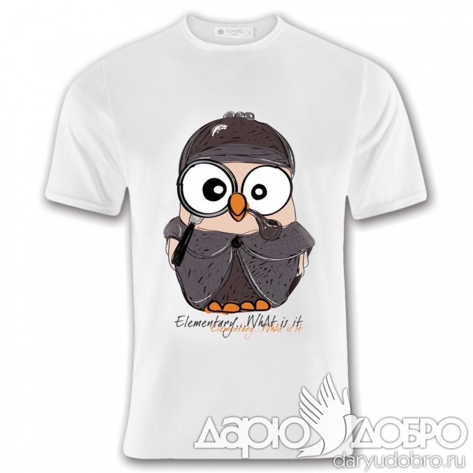 Мужская футболка с совой Шерлок