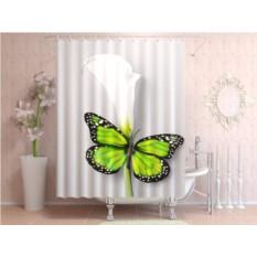 Фотоштора для ванной Зелёная бабочка
