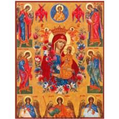 Икона Божьей Матери Неувядаемый Цвет на дереве