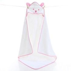 Полотенце махровое с капюшоном Белый мишка