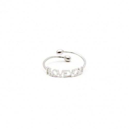 Серебряное кольцо I love you