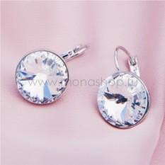 Серьги с белыми кристаллами Сваровски Чародейка