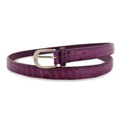 Фиолетовый женский ремень из кожи живота крокодила