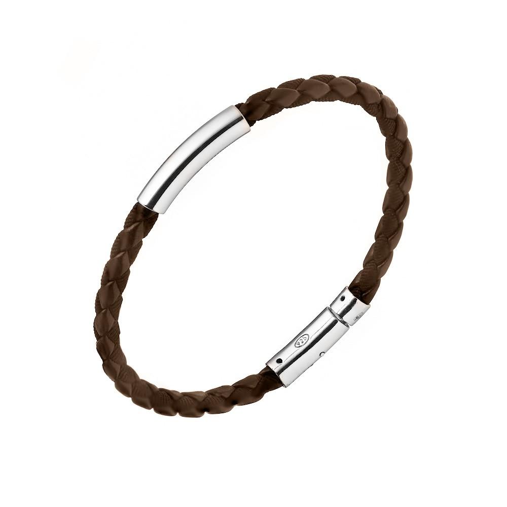Мужской кожаный браслет с элементами из серебра