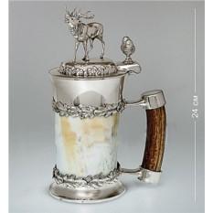 Кружка для пива из рога с оловянной отделкой