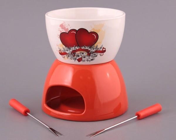 Набор для фондю с 2 вилочками «Сердца»