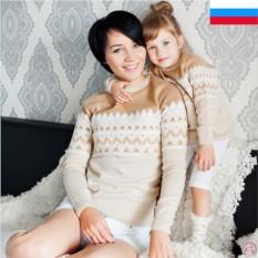 Парные джемпера для мамы и дочки Нежность