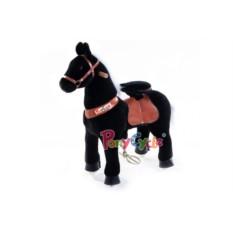 Малая детская механическая каталка Чёрная лошадка