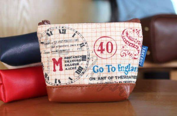Кошелек для мелочи Europe Vintage Stamps, коричневый