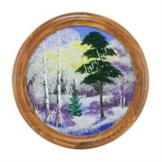 Насыпное панно на тарелке из сосны Зимний пейзаж (40 см)