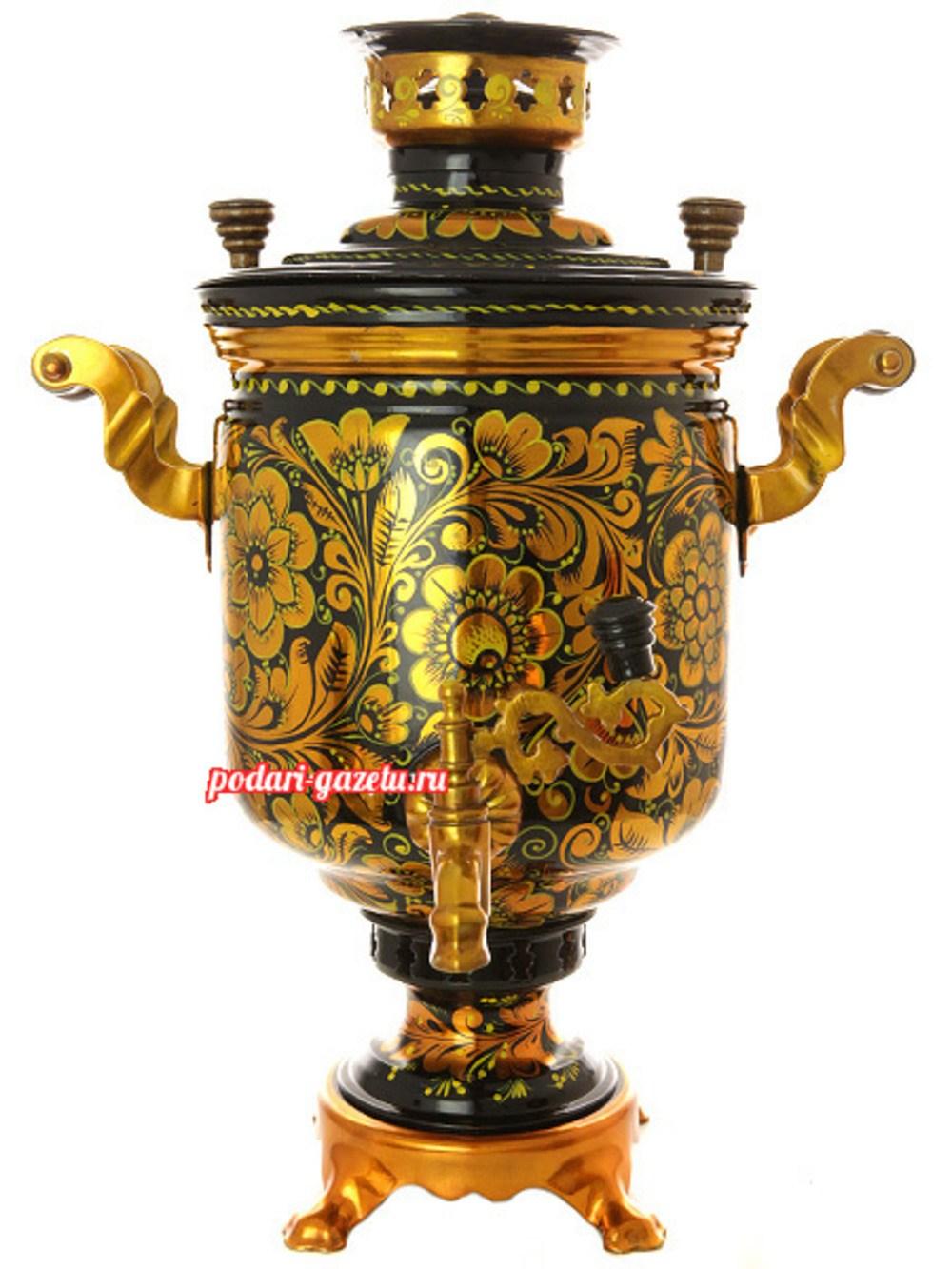 Угольный самовар (жаровый, дровяной) на 7 литров, цилиндр с художественной росписью Золотая хохлома