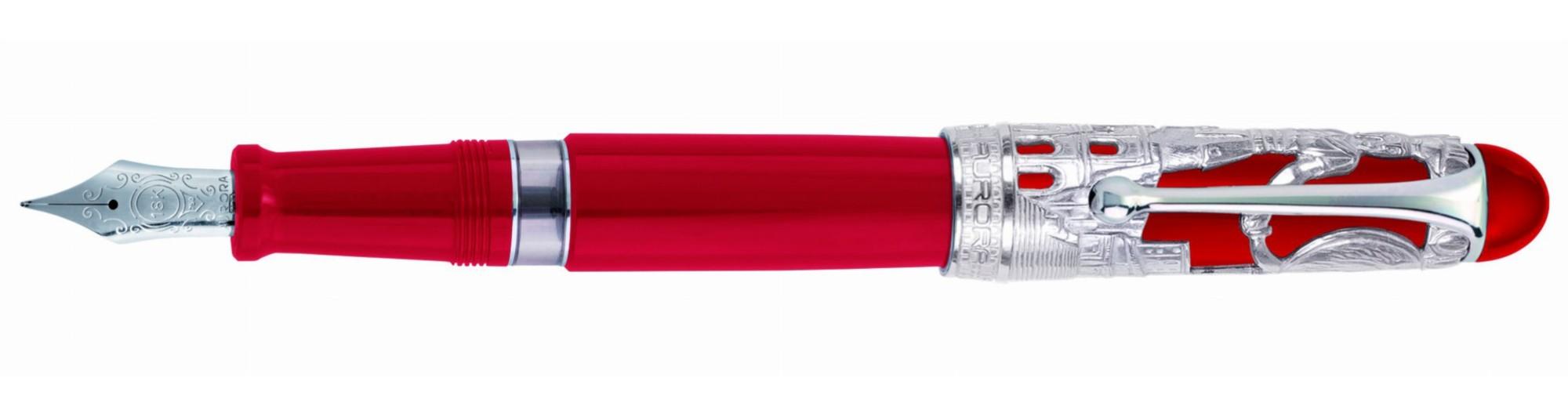 Красная перьевая ручка Aurora Roma