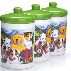 Зеленый набор банок 6 предметов Собачки