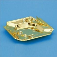 Квадратная золотистая тарелка с кристаллами