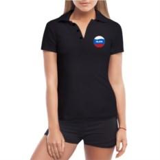 Черная женская футболка поло Алина