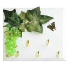 Открытая настенная ключница Виноград зеленый и бабочка