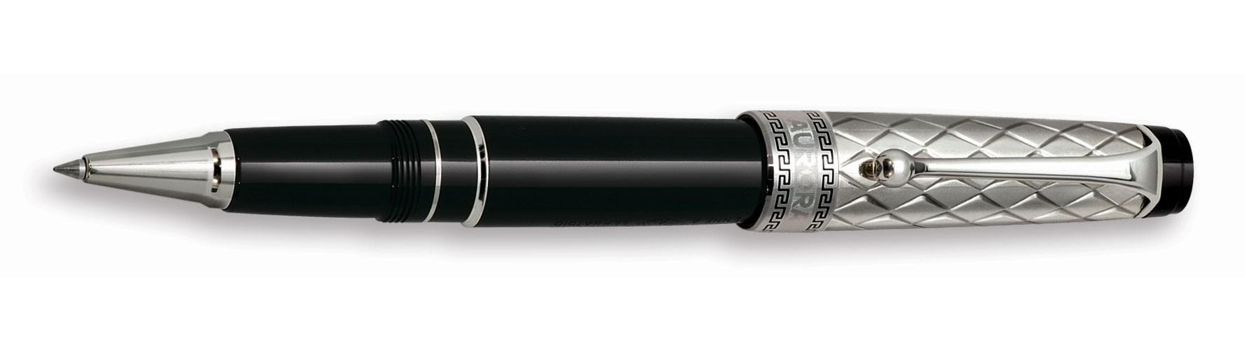 Черная с серебром ручка-роллер Aurora Optima Riflessi