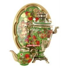 Набор для чаепития Яблоки на зеленом фоне