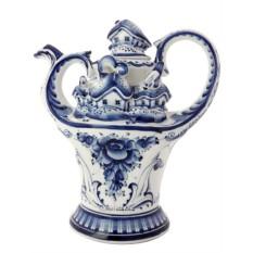 Заварочный керамический чайник Гжель. Деревенька