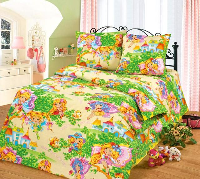Зелёно-жёлтое детское постельное белье из бязи Cleo