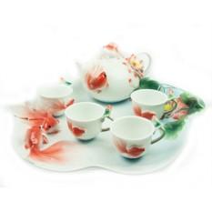 Подарочный чайный набор на 4 персоны Золотая рыбка