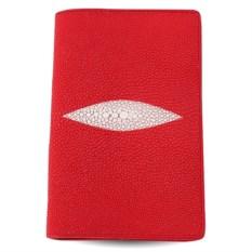 Красная обложка из кожи ската для паспорта и автодокументов