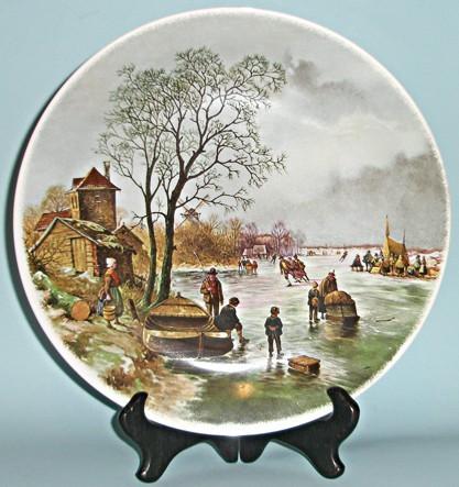 Коллекционная тарелка Зима в рыбацкой деревушке