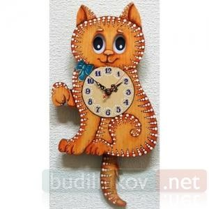 Настенные часы с маятником Бризоль Кошка
