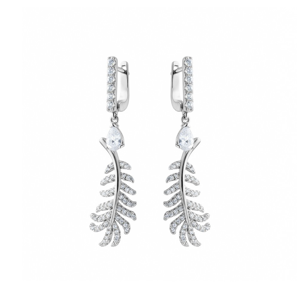 Висячие серебряные серьги «Пальмовая ветвь»
