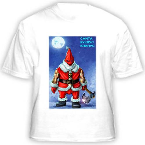Футболка с прикольным фото «Дед Мороз с топором»