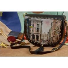 Женская кожаная сумка-седло Улицы Парижа от Elole Design