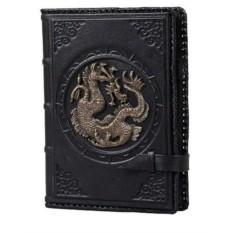 Черный кожаный ежедневник А5 Дракон