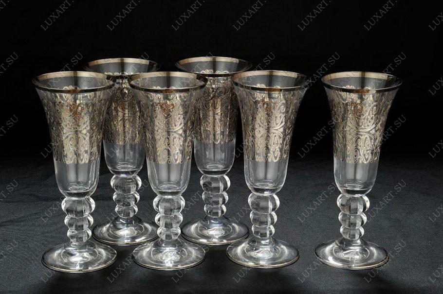 Хрустальные бокалы для шампанского Ажур Casa K