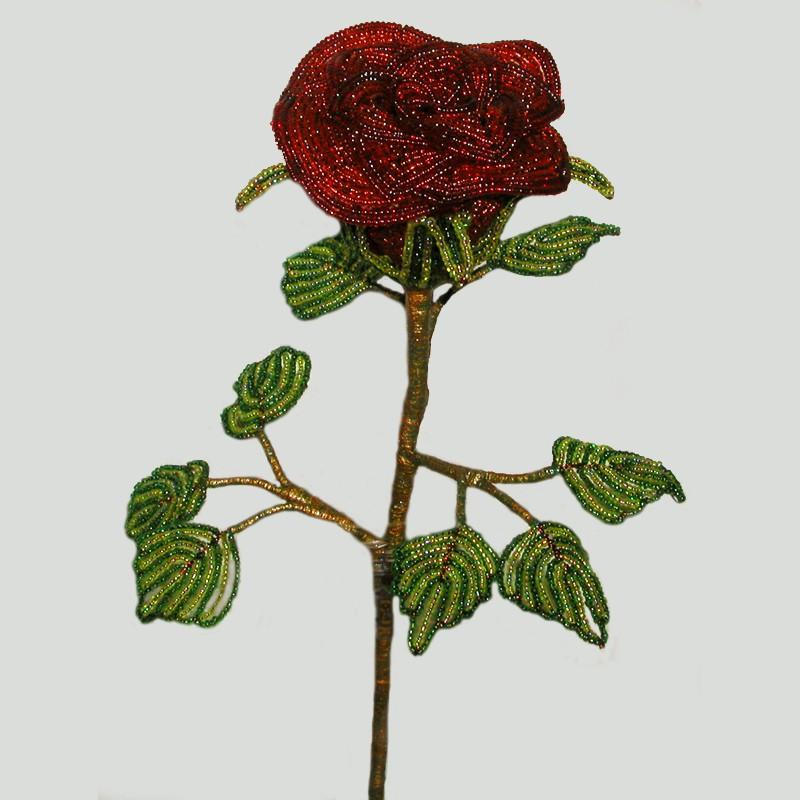 Красная роза любви из бисера