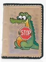 Кожаная обложка автодокументы STOP, (крокодил)