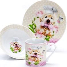 Набор детской посуды 3 предмета Собачка в колпаке