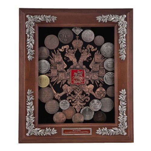 Деревянная настенная ключница Старые монеты