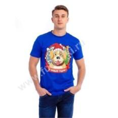 Мужская футболка Собака в новогоднем колпаке