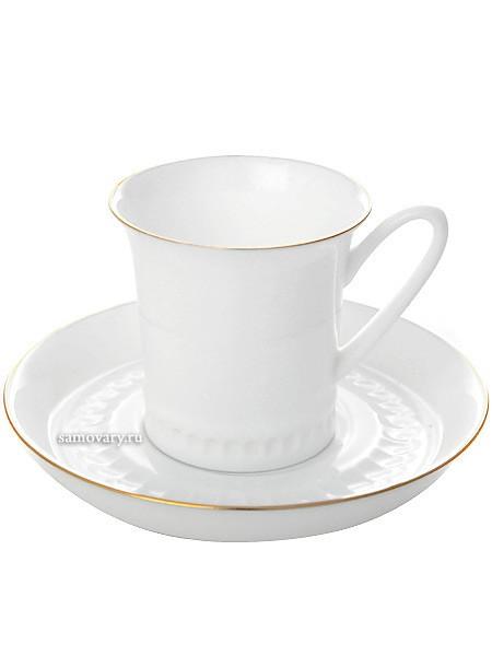 Кофейная чашка с блюдцем, форма Вертикаль рисунок Золотая отводка