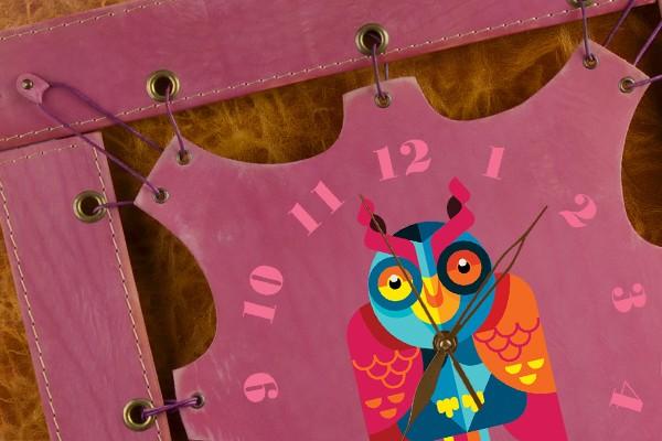 Часы из кожи Мексиканская сова (сиреневый)