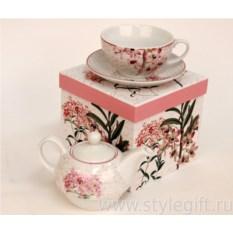 Набор из чайника с чашкой Орхидея